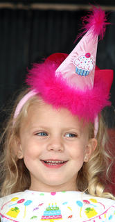 Adalyn Higdon wore a birthday hat during the Little Miss Ham Days competition in honor of the City of Lebanon's 200th birthday. She's the daughter of Matthew and Jenny Higdon.