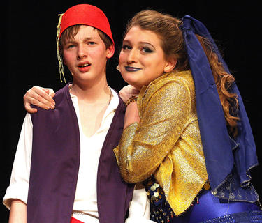 Aladdin, played by Nico McCann, and Genie, played by Emma Humphress, discuss Aladdin's three wishes during Kentucky Classic Theatre's production of Disney's Aladdin Jr. in February.