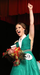 Adria Whitfill celebrates after being named the 2016 Distinguished Young Woman of Marion County. She will be competing in the Kentucky Distinguished Young Woman competition in January.