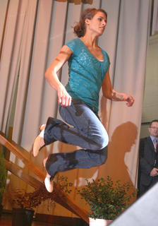 Melanie Belfiore of Elizabethtown, who has won multiple clogging titles in Kentucky and Tennessee, demonstrated her skills on stage Saturday evening.