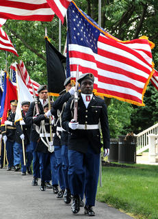 The Marion County High School Jr. ROTC presents the colors to begin the Memorial Day ceremony on Sunday, May 26.