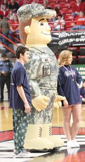 Satchel Tatum and Ann Claire Carter won the National Guard 2 on 2 shootout during halftime of the semifinal game against Lincoln County.