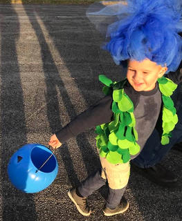 """Zeke Dudley is dressed as Branch from the movie """"Trolls."""""""