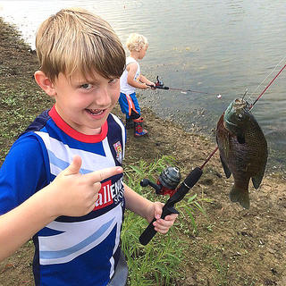 Pictured are brothers Jackson Truitt, 7, and Sam Truitt, 3, fishing at their home in Lebanon