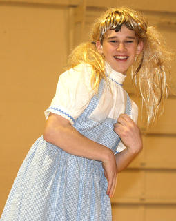A male St. Augustine student (that could not be identified because of his blonde wig) gets in touch with his feminine side as he lip synchs a Spice Girls' song.