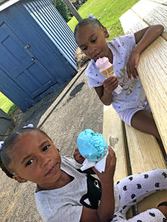 It's not summer without ice cream! ZaRiah Porter, 4, and JahNiah Porter, 7, enjoy some icecream at Lagwens. They are the daughters of Christopher and Yovonda Porter.