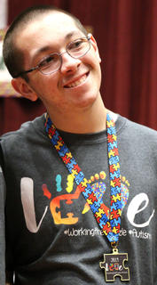 Gavin Bardin, 15, of Lebanon smiles after being recognized at Saturday's event. He is the son of Deanna and Mark Bardin.