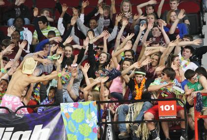 The Marion County student section shows their spirt during the win over Montgomery County Friday afternoon.