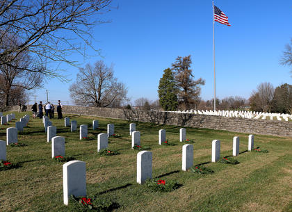 A total of 675 wreaths were placed in front of the graves at the Lebanon National Cemetery Saturday.