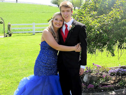 Cousins Claire Higdon and Matthew Tharp stopped by their grandparent's house for pre-prom pictures.