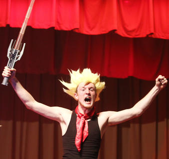 Nick Kaminski declares himself the winner after some sort of battle on stage among the participants while the judges were deliberating.