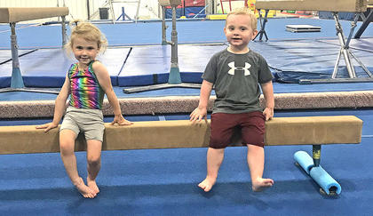 Elizabeth Hupman and Wyatt Thompson attend Mommy and Me Gymnastics at Fit Kids in Lebanon
