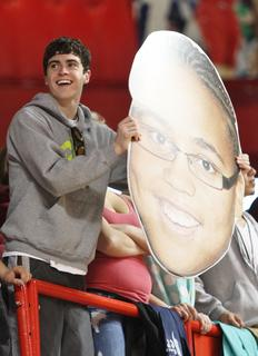 John Southall shows his support for the Lady Knights last Thursday at the state tournament.