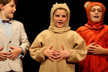 """Kentucky Classic Arts at Centre Square, along with a very talented young cast of actors and actresses, performed """"A Child Tribute to Winnie the Pooh"""" last week. Pictured, from left, are Christopher Robin played by Jackson Hayes, Winnie the Pooh played by Mya Kehm and Tigger played by Izzy Lyvers."""