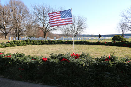 A total of 675 wreaths were placed in front of the graves at the Lebanon National Cemetery Saturday during the Wreaths Across America ceremony.