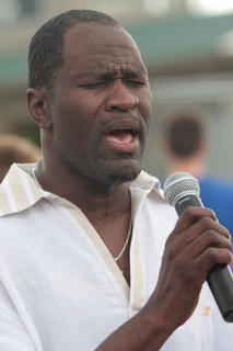 Tyrone Burton sings the Star Spangled Banner to kick-off the 2011 Relay for Life.