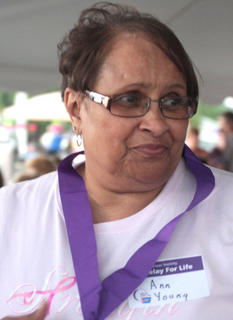 Survivor Ann Young after receiving her medal.