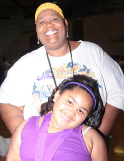 Cancer survivor Sherille Parrott of Lebanon has a good time during this year's relay with her daughter, Angelina.
