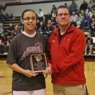 Makayla Epps was awarded as the best player in the girls 20th district tournament