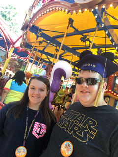 Briley and Trevor Mudd enjoy a vacation at Disneyland in California.
