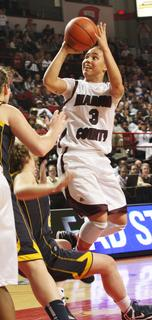 Senior Makayla Epps scores two of her game high 15 points in the state championship game.