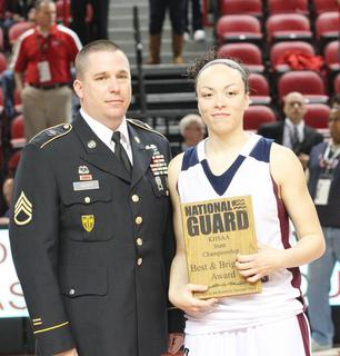 Senior Bre Elder was awarded the National Guard Player of the Game.  Elder finished with 16 points, 4 assists, and went 8-8 from the free throw line.