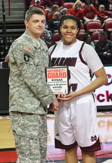 Senior Logan Powell was selected as the Kentucky National Guard Player of the Game for her efforts in the second round state tournament game against Montgomery County.  Powell finished with 19 points and 8 rebounds.