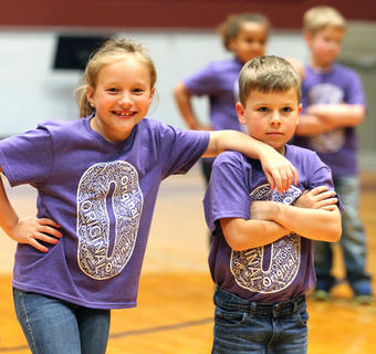 Pictured are first graders Abigail Collopy and Hudson Kirkland.