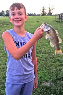 Joshua Lanham has enjoyed spending quality time with his grandparents fishing this summer.