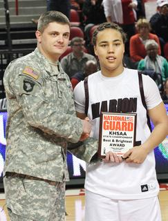 Senior Makayla Epps was selected as the Kentucky National Guard Player of the Game for her efforts during the semifinal game against Anderson County.  Epps had a game high 28 points in the 72-49 win.