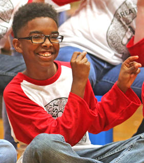 Pictured is fifth grader Jamarion Calhoun.