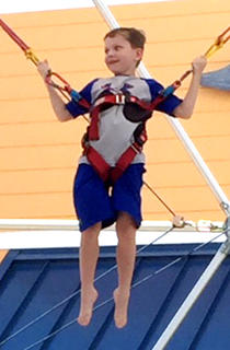 Gabe Hardin, 7, has some fun in Pigeon Forge, Tennessee.