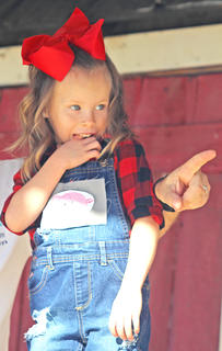Paisley Lyvers is a little stage shy during the Little Miss Ham Days competition.