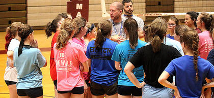 Marion County High School volleyball head coach David Hibbard speaks with campers at the volleyball team's summer camp last Wednesday at Marion County High School.