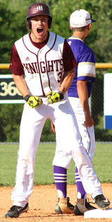 Senior Landon Russell reacts after his RBI-double against Bardstown.