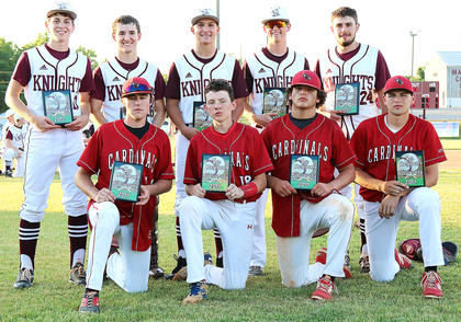 Pictured are Nelson County and Marion County members of the All-Region Tournament Team. They are, front row from left, Nelson County's Dom Lawson, Barrett McGill, Cameron Lov'von and Benton McGill; back row from left, are Marion County's Luke Thomas, Cody Browning, Kelly Mattingly, Andrew Spalding, and Travis Wiser.