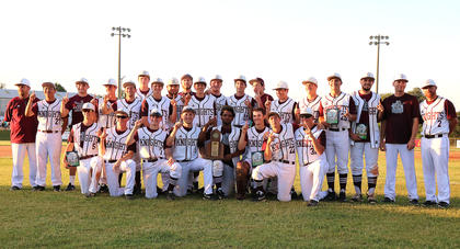 Pictured is the Marion County High School Knights Baseball Team with the championship trophy. They are, front row from left, Andrew Spalding, Brandon Lee, Nick O'Daniel, Landon Russell, Cameron Nalley, Cody Browning, Dalton Hammond and Luc Buckman; back row from left, are Assistant Coach Toby Tungate, Masashi Goto, Luke Abell, Dawson McCarty, Aaron Howard, Devon Murphy, Ryan Hayes, Jacob Spalding, Assistant Coach Jason Buckman, Zach Hunt, Davis Rafferty, Luke Thomas, Cody Case, Dalton Sallee, Noah Abell, Kelly Mattingly, Travis Wiser, Assistant Coach Marc Brock and Head Coach Patrick Campbell.