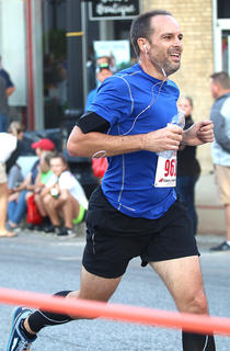 Eric Wheatley, winner of the male 40-44 class, nears the finish line at the Pokey Pig 5K. He finished with a time of 19:15.8.