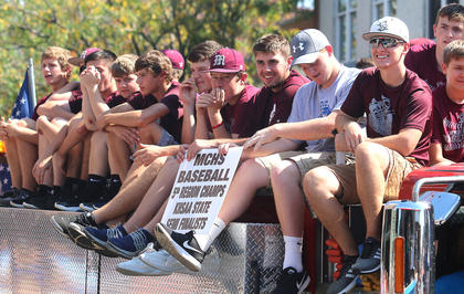 The Marion County High School baseball team rode on a firetruck in the Pigasus Parade Saturday afternoon. Thee team won the first-ever regional title in program history and advanced to the state tournament semifinals.