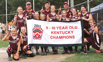 Pictured are the members and coaches of the state champion 9- and 10-year-old Marion County All-Star softball team. They are, kneeling from left, Haley Mattingly, Savannah Benningfield and Emily Helms; standing from left, Cassidy Logsdon, Assistant Coach Bobby Johnson, Dailyn Spalding, Abby Scott, Addi Murphy, Assistant Coach Joe Pat Cecil, Olivia Ford, Carly Jo Thomas, Head Coach Mike Benningfield, Jenna Cecil and Savannah Johnson.
