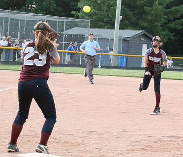 Leah Wright makes the throw to Jordan Browning at first for an out in the state title game against North Oldham.