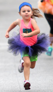 Makayla Wease, 4, looks fierce as she heads toward the finish line. She won a special award for having the most spirit at the finish line.