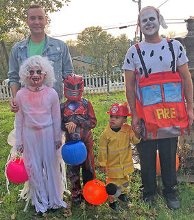 Pictured are the Richardson family from Bradfordsville. They are, from left, Lincoln, Kira (dressed as a ghoulish bride), Christopher (dressed as a Power Ranger), Tyler (dressed as a fire chief) and Shane dressed as a Dalmatian in a fire truck.