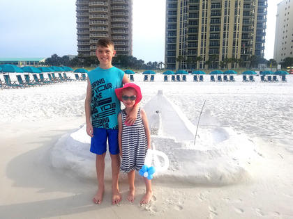Landen Abell and Ella Short found an awesome castle on the beach in Destin, Florida.