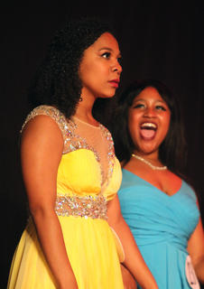Leah Hazelwood's expression of pure shock says it all as she is named the 2018 Marion County Distinguished Young Woman in August. She made history as the first African American participant to be named Marion County Distinguished Young Woman. Also pictured is Kameron Hall.