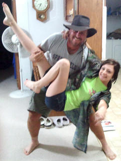 "Pictured is Brandon Hitch of Columbia impersonating the ""Turtleman dip"" with Lana Calbaugh of Texas."