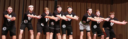 Pictured is the Spectre group performing during the physical fitness portion of the competition. They are, from left, Jordan Baize, Conner Mattingly, Daniel Maupin, Matthew Mattingly, Jared Tutt, Travis Huellemeier, Justin Overstreet and Cody Rogers.