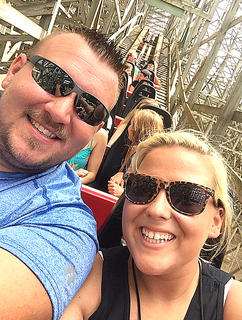 Michael and Mary Beth Price take a selfie on the Mean Streak roller coaster at Cedar Point.
