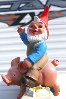 The Heart of Kentucky Bourbon and BBQ Musicfest was held May 20-21 in Lebanon. This pig-riding garden gnome fit right in with the 27 cooking teams that participated in the Kansas City Barbeque Society contest.