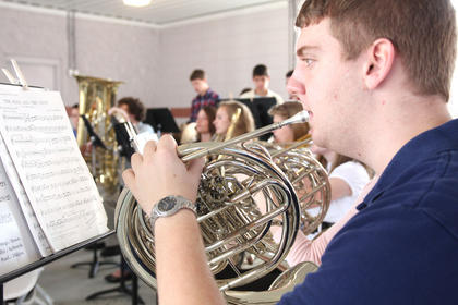 The Marion County High School band performed a selection of patriotic songs.
